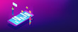Messaging application isometric 3D banner header.
