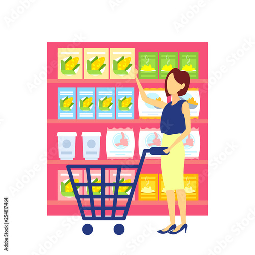 woman customer carrying trolley cart choosing food big grocery shop supermarket interior girl buyer super market shopping concept full length flat - 254817464