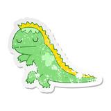 distressed sticker of a cartoon dinosaur