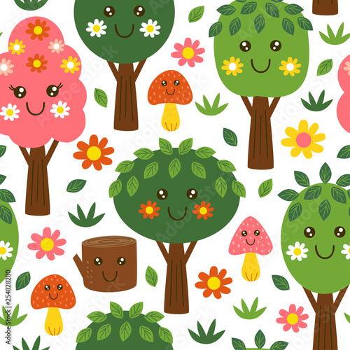 obraz lub plakat seamless pattern with funny trees kawaii - vector illustration, eps