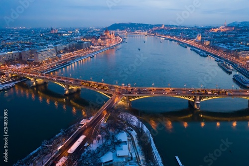 obraz lub plakat Night panorama of Budapest Hungary