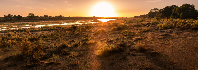 Beautiful Panorama sunset and sunrise at lower sabie camp,kruger national park, soth africa