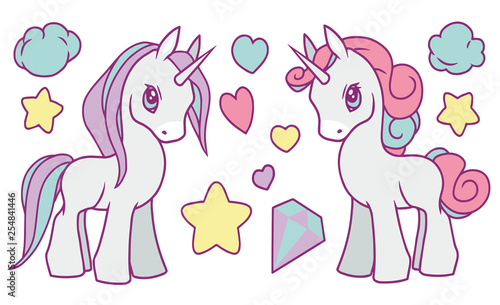 Cute vector collection set with pastel rainbow colored unicorns, stars, diamond, clouds and hearts suitable for children