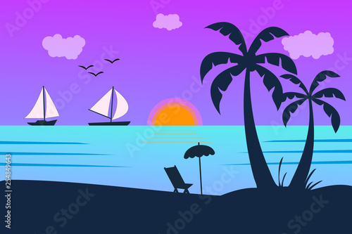 Vector seascape and sky background. Tropical Beach and Palm Trees Silhouette Travel Holiday Vacation Concept.