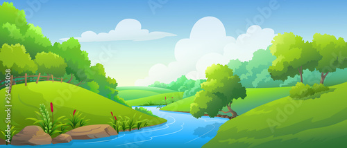 landscape forest and river at daytime