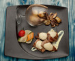 pork meet served with mushrooms - 254864201