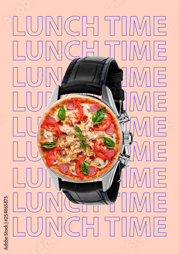 Funny art collage. Pizza with wristwatch. Contemporary modern image. Emotions hungry person, dreams of food and lunch time