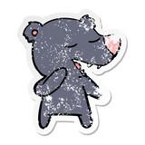 distressed sticker of a cartoon bear
