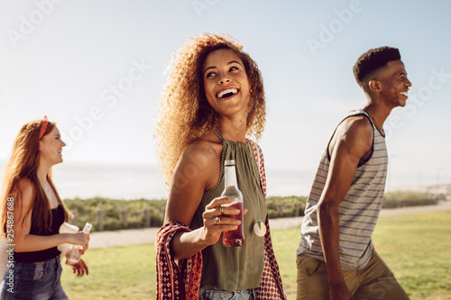 Woman hanging out with friends