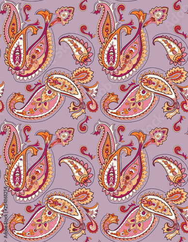 vector seamless graphical orient paisley pattern. Ethnic allover background design. - 254868254