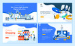 Set of flat design web page templates of  web development, business apps and solutions, startup, online shopping. Modern vector illustration concepts for website and mobile website development.
