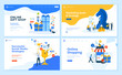 Set of flat design web page templates of e-commerce, marketing, business strategy, social media. Modern vector illustration concepts for website and mobile website development.