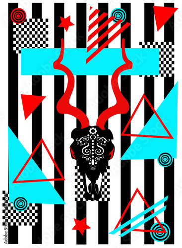 Pop art background with goat head abstract geometric vector illustration © ralelav