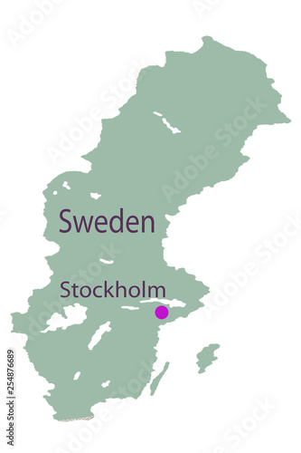 Ancient World Map of Sweden unhygienic yellow . © baon