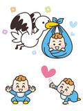 コウノトリと男の子の赤ちゃん
