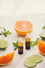 """Постер, картина, фотообои """"organic cosmetics with herbal extracts of lemon, orange, mint on bright background"""""""