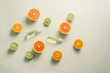 Flat lay composition with delicious natural citrus on color background