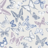Seamless pattern with hand drawn butterflies - 254893422