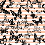 Striped seamless pattern with hand drawn butterflies - 254893488
