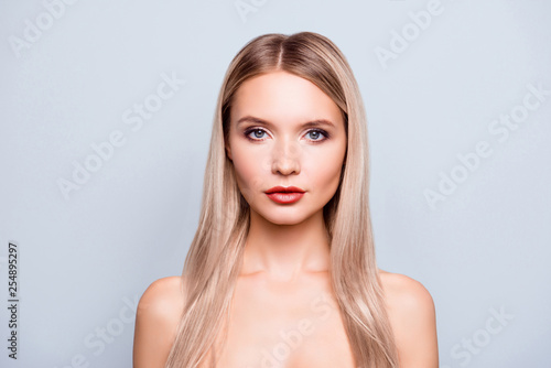 Leinwanddruck Bild Concept of having natural beauty. Close up portrait confident beautiful charming cute lovely attractive she her woman with perfect ideal skin face lips isolated on grey background