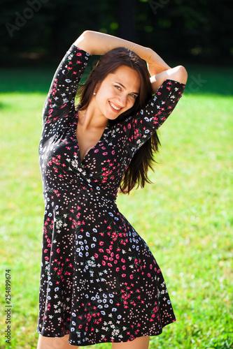 Leinwanddruck Bild Portrait of beautiful young happy woman