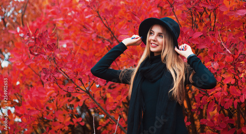 Fashion autumn portrait smiling woman in black hat on a red leaves background - 254902653