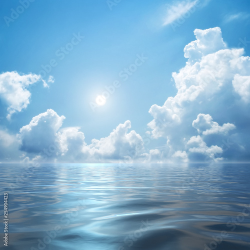 white clouds over the sea