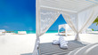 Leinwandbild Motiv Amazing tropical beach scene with white canopy and curtain for luxury summer relaxation concept. Blue sky with white sand for sunny beach landscape background and summer vacation or holiday design