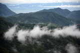Aerial view of the morning foggy landscape in the mountains. The morning view on the hilltop.