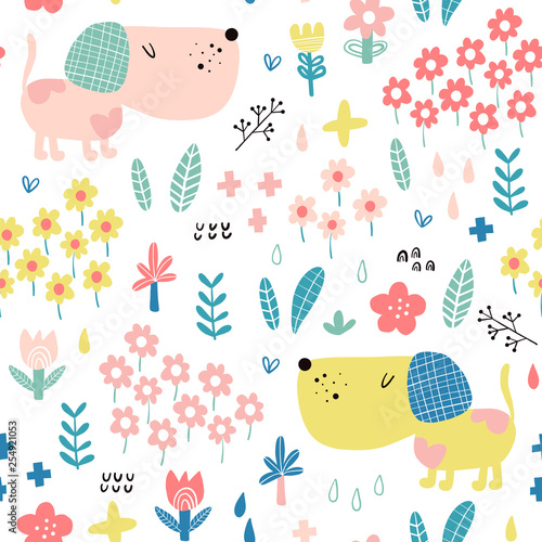 obraz PCV Seamless pattern with cute dogs
