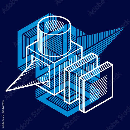 3D engineering vector, abstract shape made using cubes and geometric forms. - 254922243
