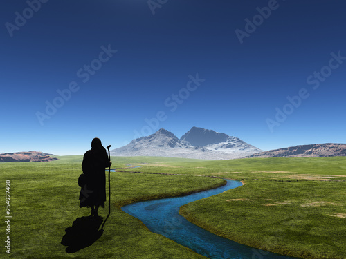 Traveler on a background of mountains. - 254922490