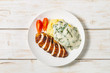 Chicken breast, mashed potatoes with spinach in cream sauce. Dietary food. The view from the top. Copy-space.    - 254924272