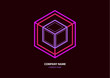 Abstract isometric linear logo, cubed cube. Futuristic company icon on dark background. Neon colors. - 254944093