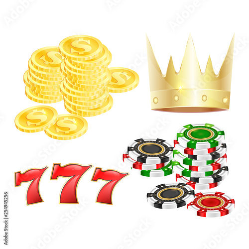 Casino symbol set for game