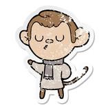 distressed sticker of a cartoon monkey