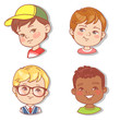 Set with boy's faces. Userpics for blog. Avatar collection of boy faces. Vector illustration of different  kids  portraits in circle. Various color of hair, eyes, skin, nation. Vector illustration. - 254951209