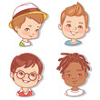 Set with boy's faces. Userpics for blog. Avatar collection of boy faces. Vector illustration of different  kids  portraits in circle. Various color of hair, eyes, skin, nation. Vector illustration. - 254951244