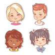 Set with girl's faces. Userpics for blog. Avatar collection of woman faces. Vector illustration of different  girl portraits in circle. Various color of hair, eyes, skin. Vector illustration. - 254951421