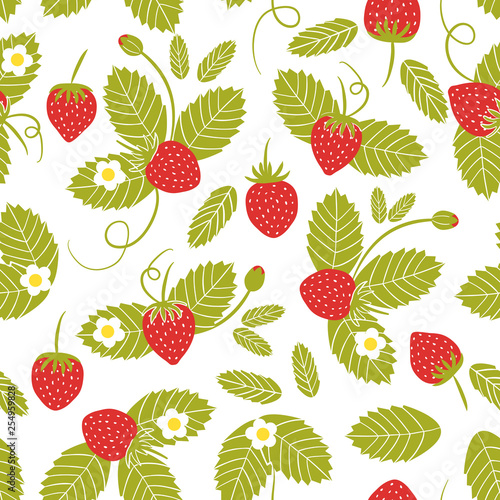 Vector seamless pattern with strawberry. Fresh berry background for textile, wrapping paper design. Good for healthy food, natural cosmetics, confectionery © Екатерина Волынщиков