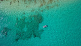 aerial view of boat with reef, fuerteventura