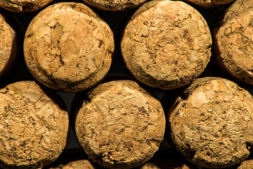 closeup of champange cork isolated on a black background