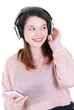 Woman young teenager listening to music