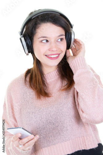 Woman young teenager listening to music - 254979426