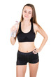 Leinwanddruck Bild - Young sport athletic woman wearing black clothes holding water bottle in gym