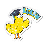 retro distressed sticker of a cartoon bird with learn text