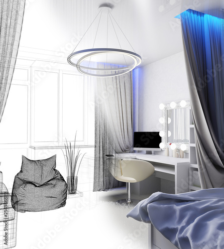 modern workplace in home interior, 3d rendering