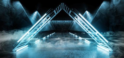 Smoke Background Sci Fi Neon Triangle Futuristic Alien Spaceship Dance Stage Glowing Blue Fluorescent Laser Led Lights On Grunge Dark Concrete Reflective 3D Rendering