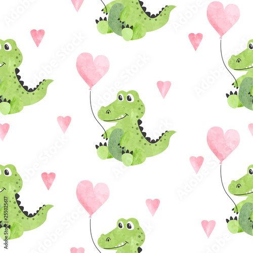 Seamless childish vector pattern with cute watercolor crocodiles and hearts. - 255025617
