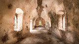 Desolated interior of a part of Kato Chora Castle on the island of Kythira, Greece